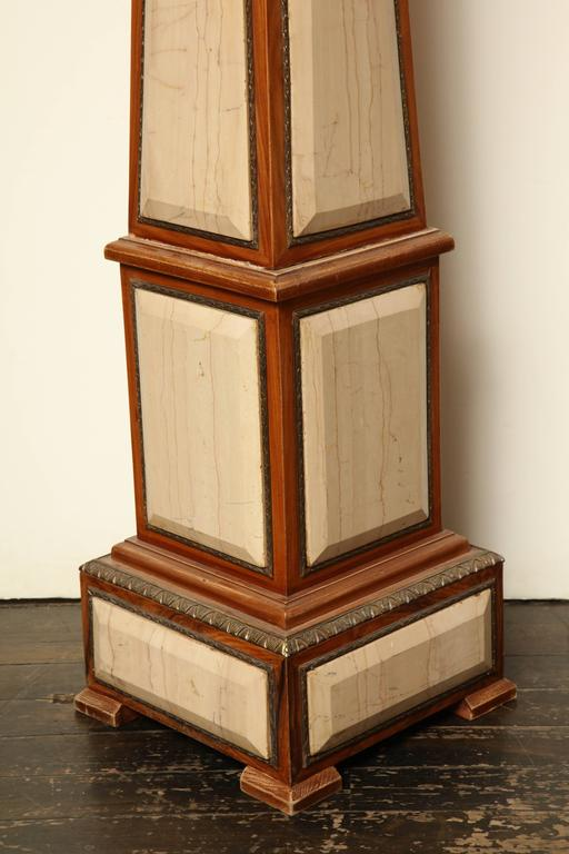 Pair of 1920s Style Columns in Oak with Marble and Bronze For Sale 2