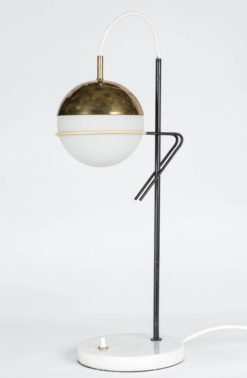 Brass 1960s Stilux Milano Glass and Marble Table Lamp For Sale