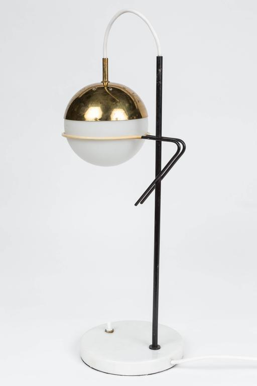Mid-20th Century 1960s Stilux Milano Glass and Marble Table Lamp For Sale