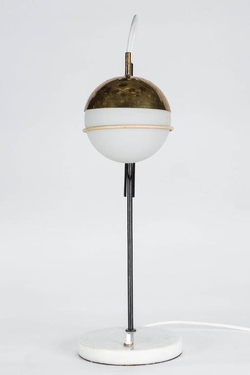 1960s Stilux Milano Glass and Marble Table Lamp For Sale 2