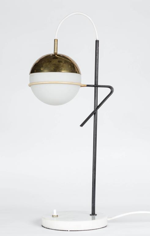 1960s Stilux Milano Glass and Marble Table Lamp For Sale 1
