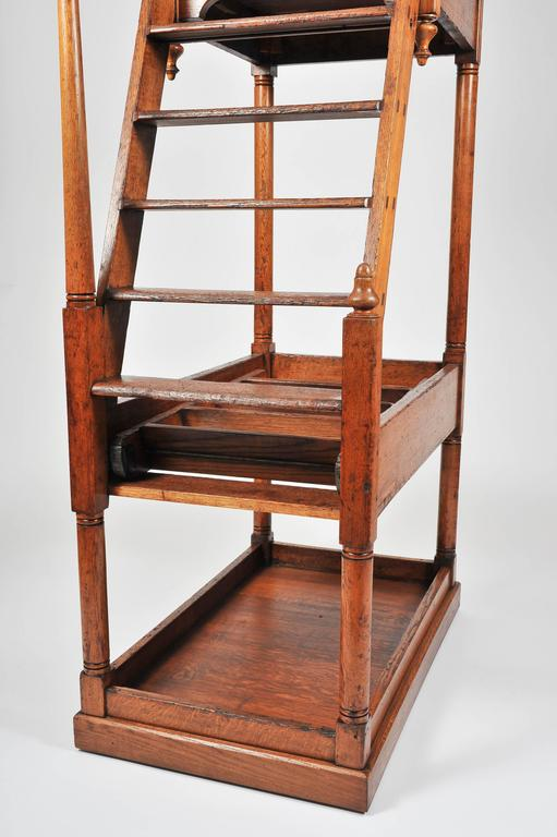 Superb 19th Century Large Oak Library Steps For Sale 1