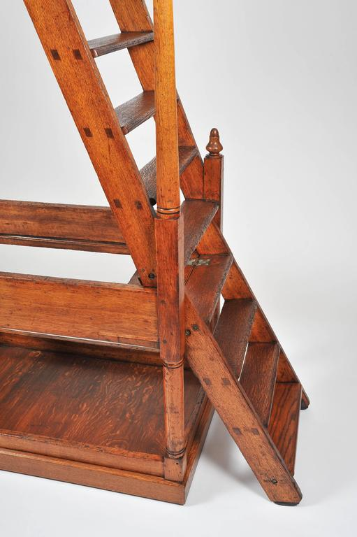 Superb 19th Century Large Oak Library Steps For Sale 2
