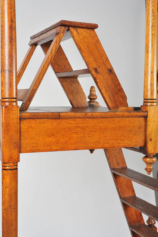 Superb 19th Century Large Oak Library Steps For Sale 3