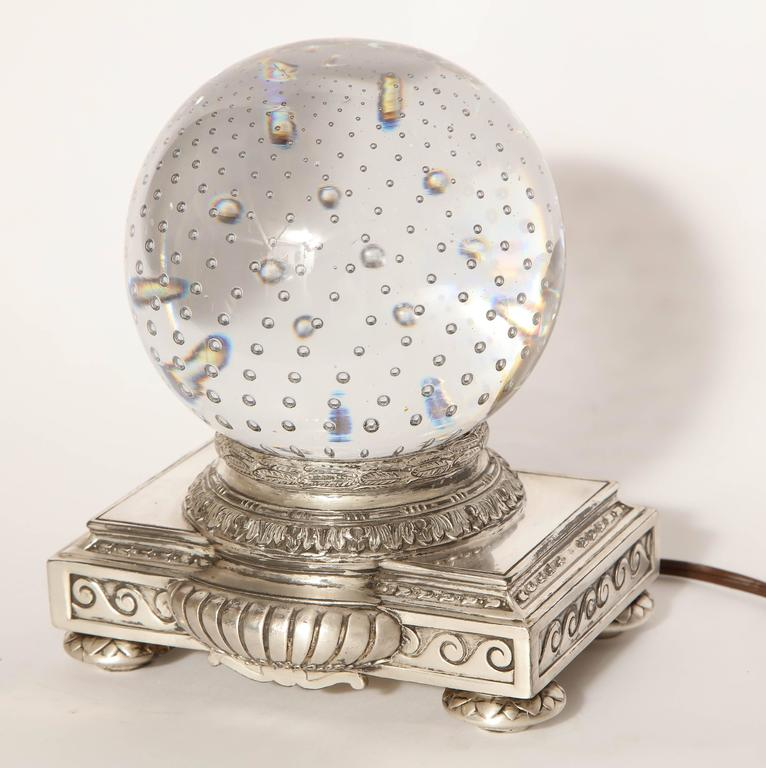 Pairpoint Art Deco glass crystal table lamp.