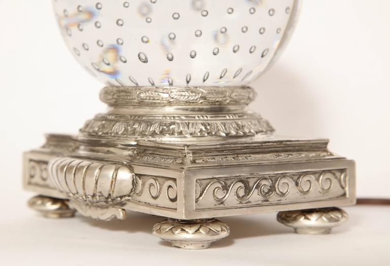 Silvered Pairpoint Art Deco Glass Crystal Table Lamp For Sale