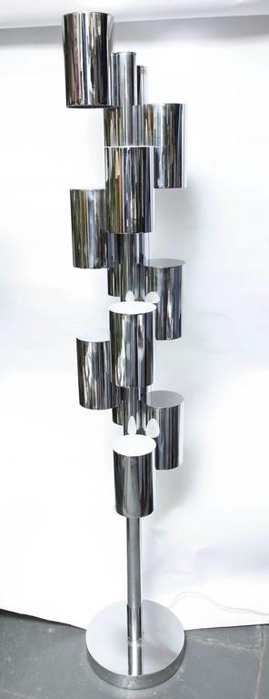 Plexiglass Mid-Century Modern Architectural Floor Lamp Attributed to Sonneman For Sale