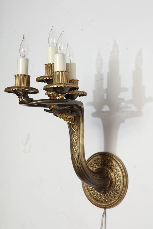 American Caldwell Art Deco Sconces Patinated Bronze For Sale