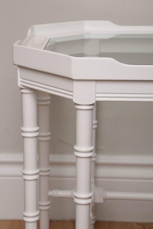 Pair of White Lacquer Faux Bamboo Side Tables For Sale 2
