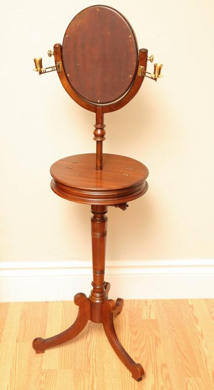 Antique Shaving Stand With Tilting Beveled Mirror And Two Candleholders The Tabletop Is 15