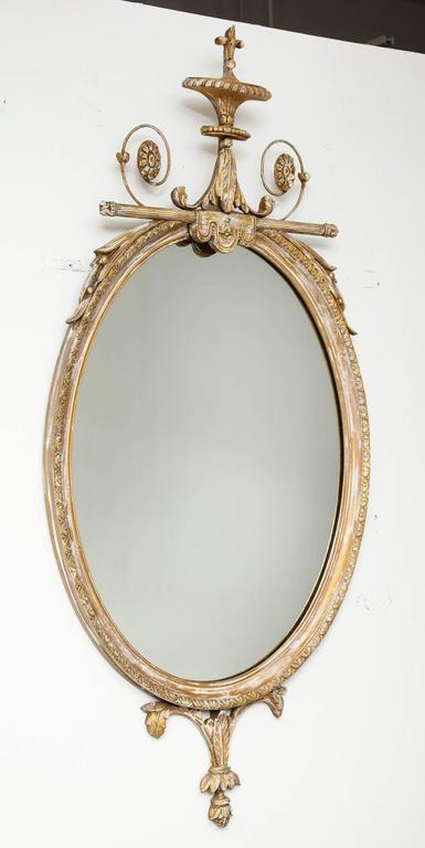 Almandine French Rococo Antique Green Leaf Oval Large Mirror