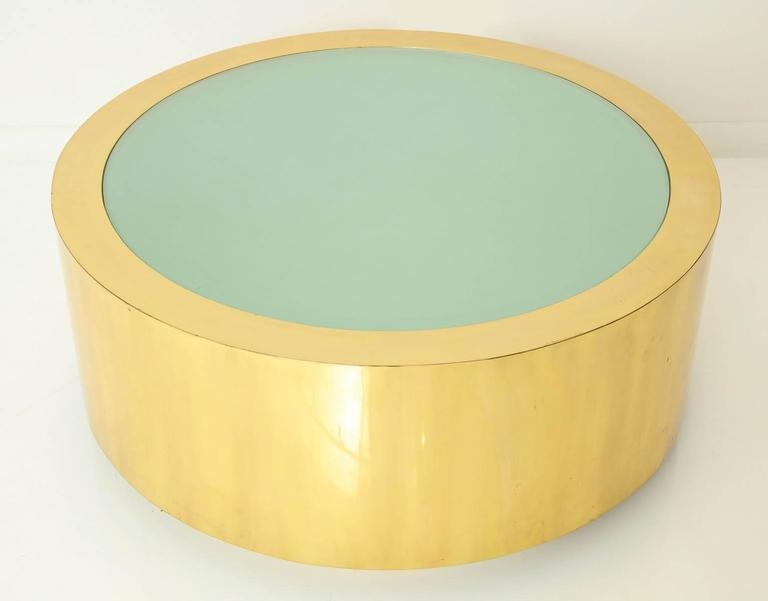 Late 20th Century Fabulous Brass and Glass Coffee Table by Steve Chase For Sale