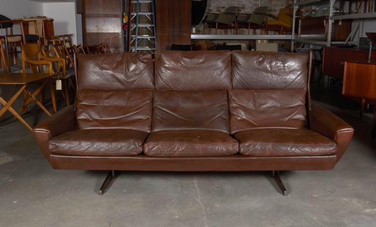 Atomic Brown Leather Sofa by Fredrik Kayser 3