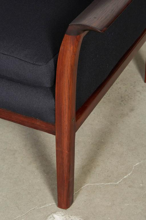 Scandinavian Rosewood & Black Chairs, Pair 4