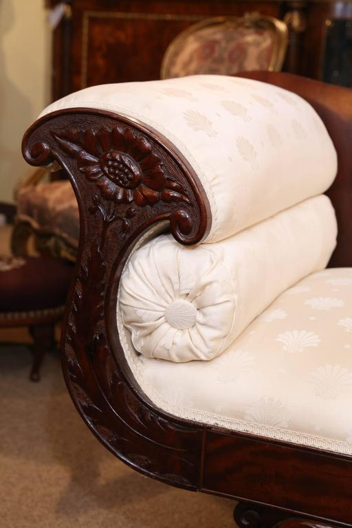 Upholstery American Empire Settee, 19th Century Flame Mahogany