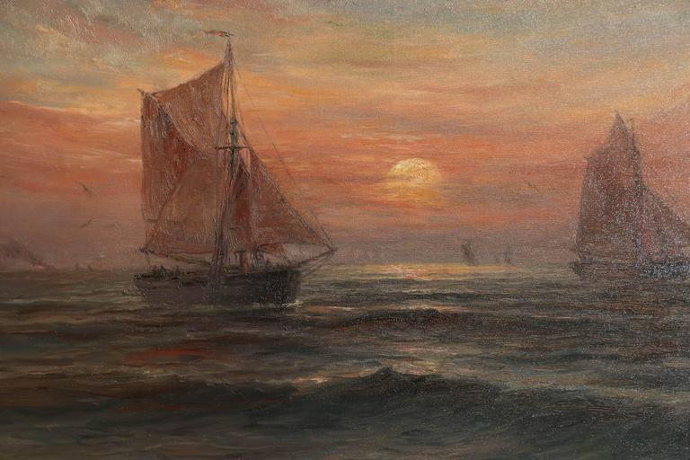 Colorful and beautiful sunset with sailboats. Oil on canvas signed  Romain Steppe at the lower left of the painting (Belgian 1859-1927) Well done and in beautiful condition.