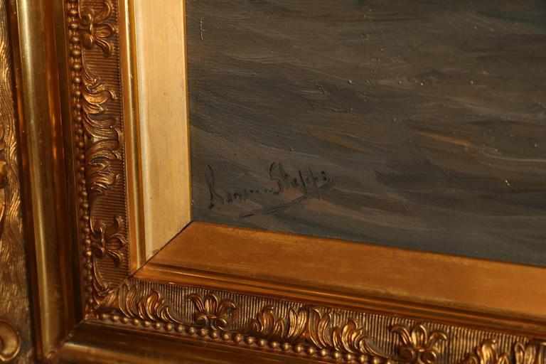 Belgian Oil on Canvas, Ships at Sunset Signed Lower Left