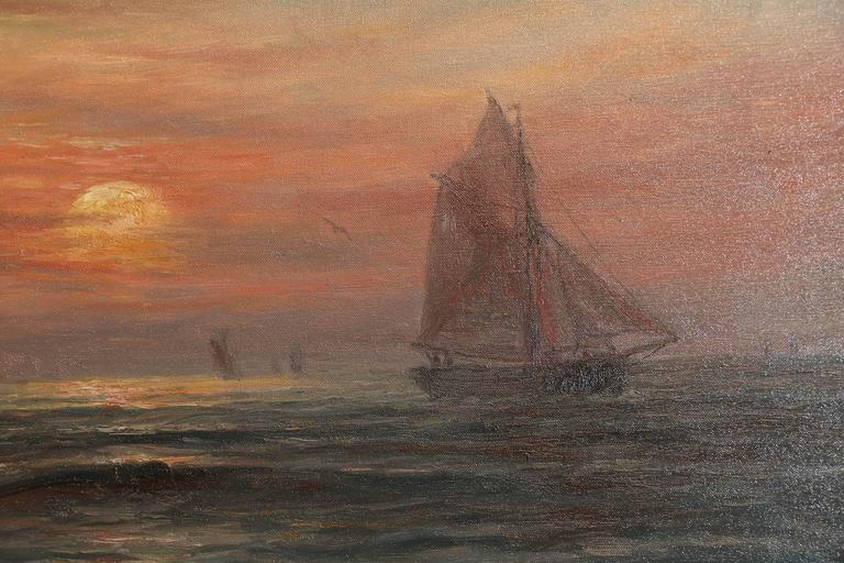 Oil on Canvas, Ships at Sunset Signed Lower Left