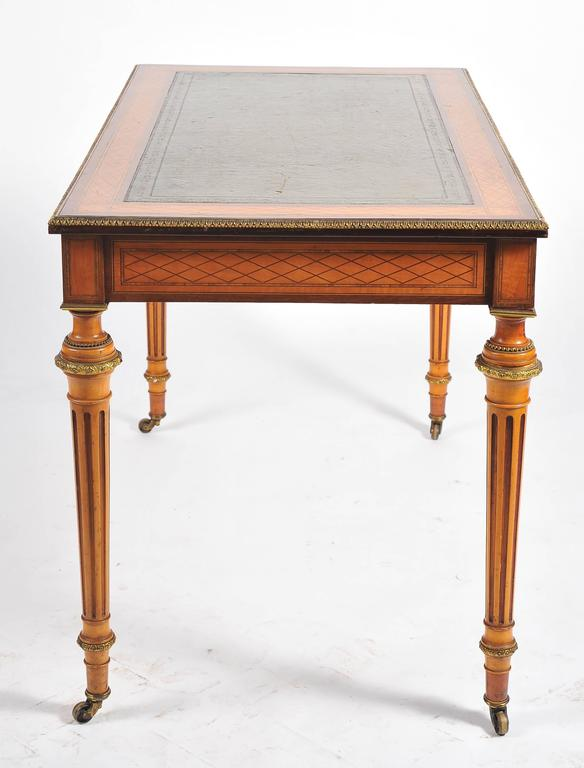 English 19th Century Parquetry Inlaid Writing Table, in the Manner of Donald Ross For Sale
