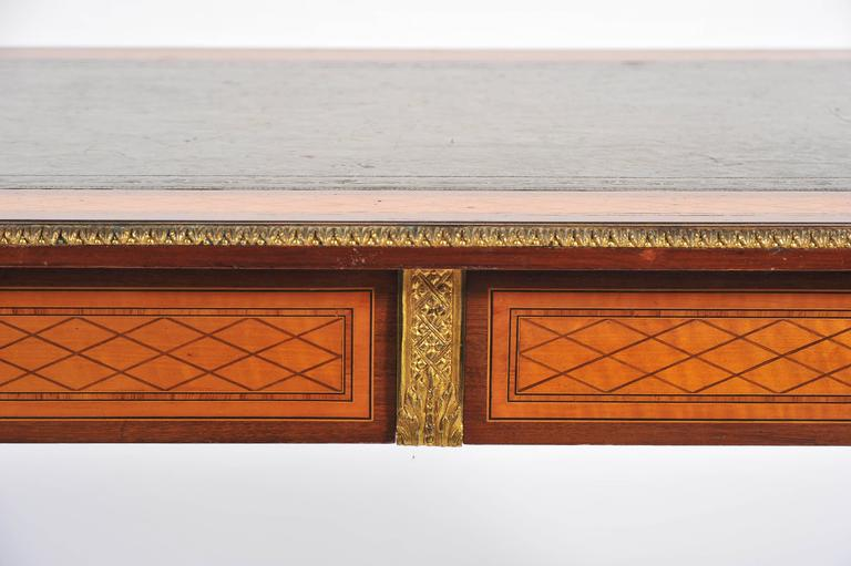 Inlay 19th Century Parquetry Inlaid Writing Table, in the Manner of Donald Ross For Sale