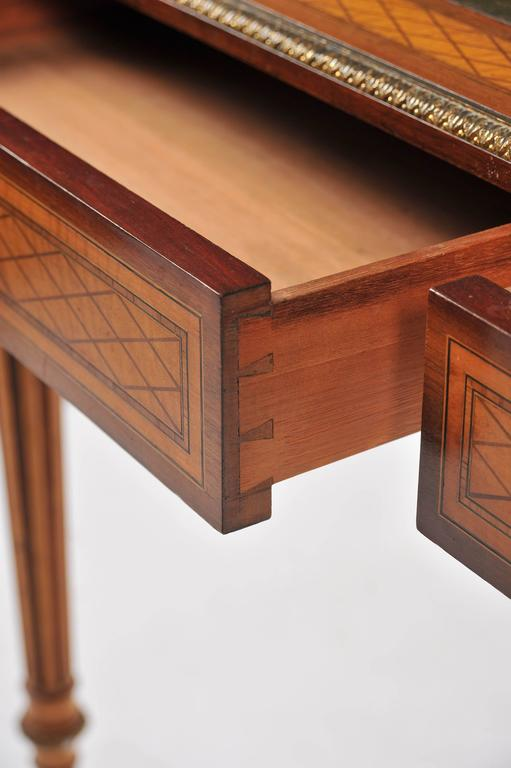 Satinwood 19th Century Parquetry Inlaid Writing Table, in the Manner of Donald Ross For Sale