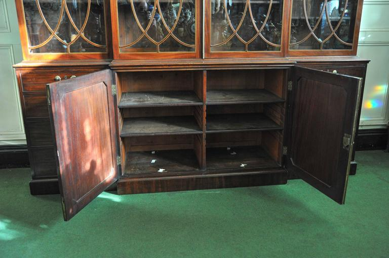 English George III Period Library Breakfront Bookcase For Sale