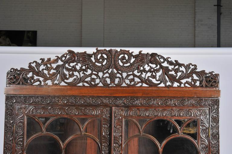 Gothic Anglo-Indian Bookcase For Sale