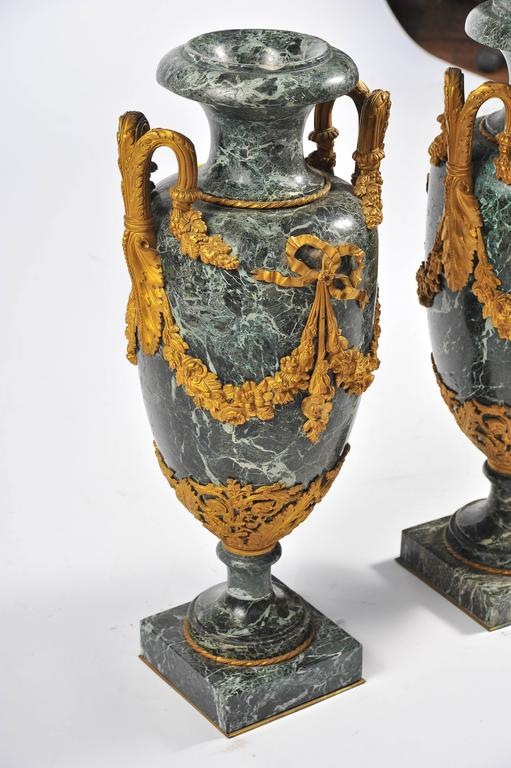 Louis XV Large Pair of 19th Century Green Marble and Ormolu Urns For Sale