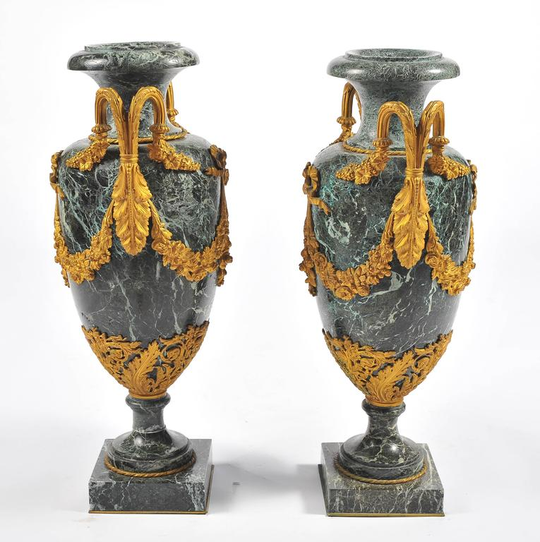 French Large Pair of 19th Century Green Marble and Ormolu Urns For Sale