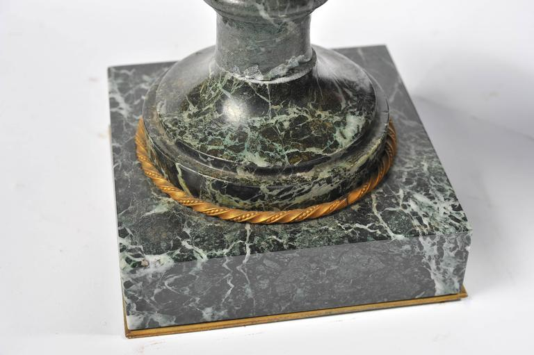 Large Pair of 19th Century Green Marble and Ormolu Urns For Sale 3