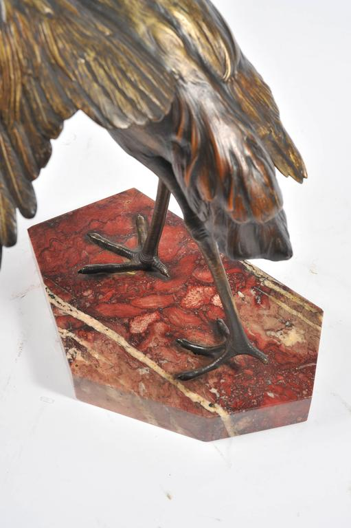 20th Century Bronze Statue of a Crane, Signed 'Otto Lang' For Sale
