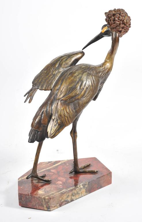 Bronze Statue of a Crane, Signed 'Otto Lang' For Sale 1