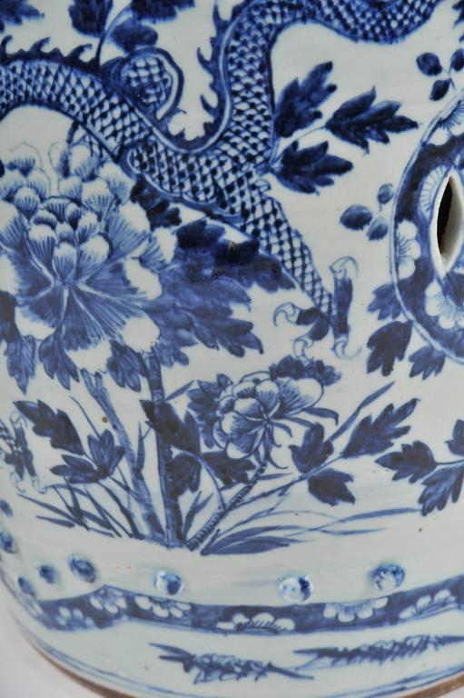 Pair of 19th Century Chinese Blue and White Garden Seats For Sale 2