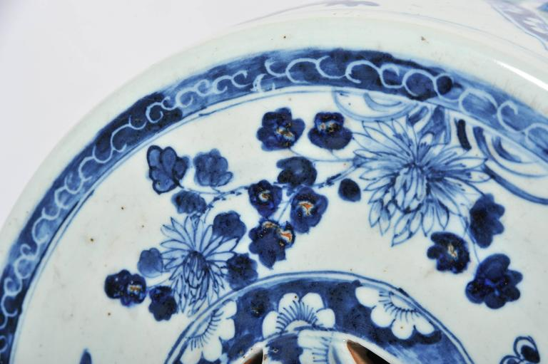 Pair of 19th Century Chinese Blue and White Garden Seats For Sale 3