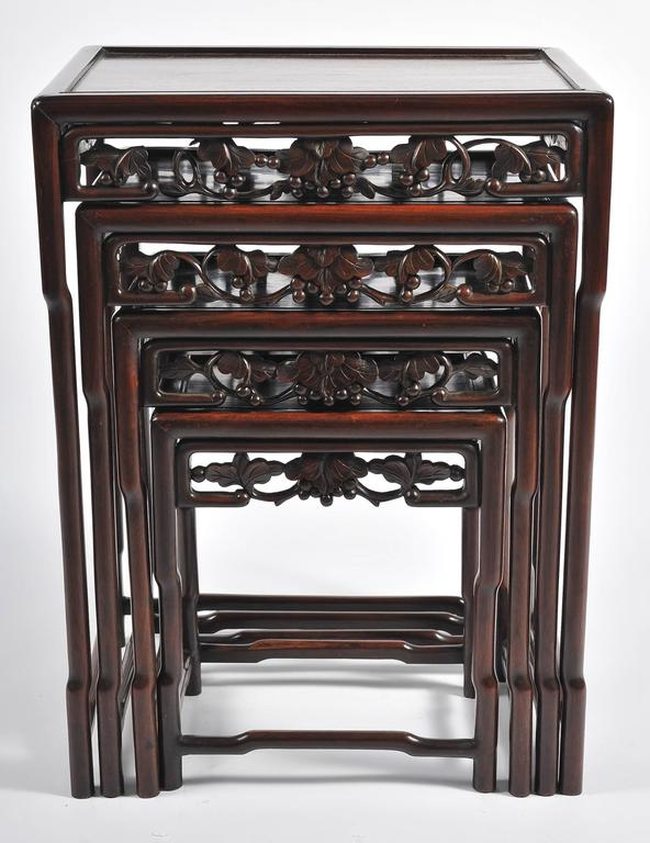 Hand-Carved Nest of Four 19th Century Chinese Hardwood Tables For Sale