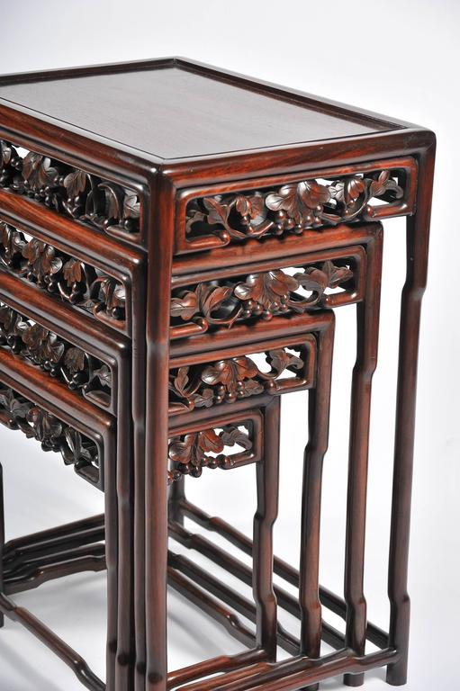 Nest of Four 19th Century Chinese Hardwood Tables In Good Condition For Sale In Brighton, Sussex