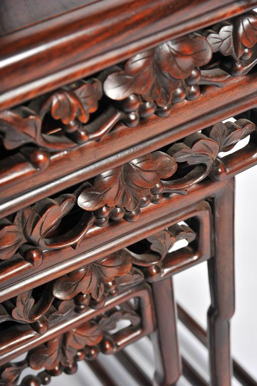 Nest of Four 19th Century Chinese Hardwood Tables For Sale 1