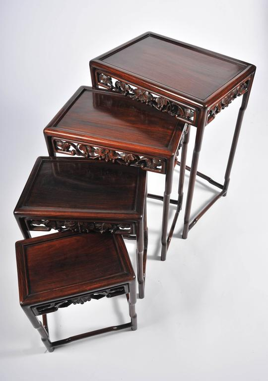 Nest of Four 19th Century Chinese Hardwood Tables For Sale 4