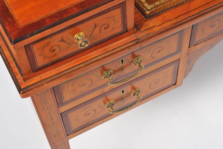 Edwardian Satinwood Carlton House Desk For Sale 2