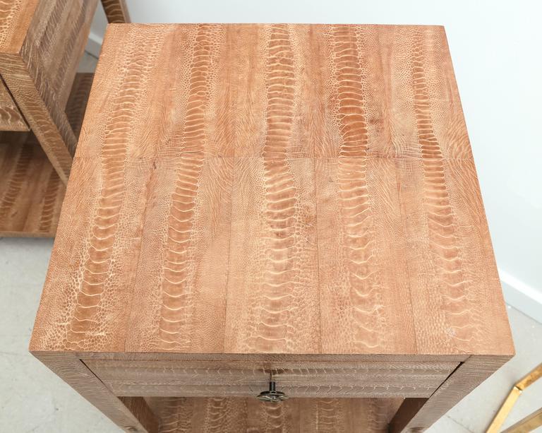 Mid-Century Modern Pair of Vintage Snakeskin Side Tables For Sale