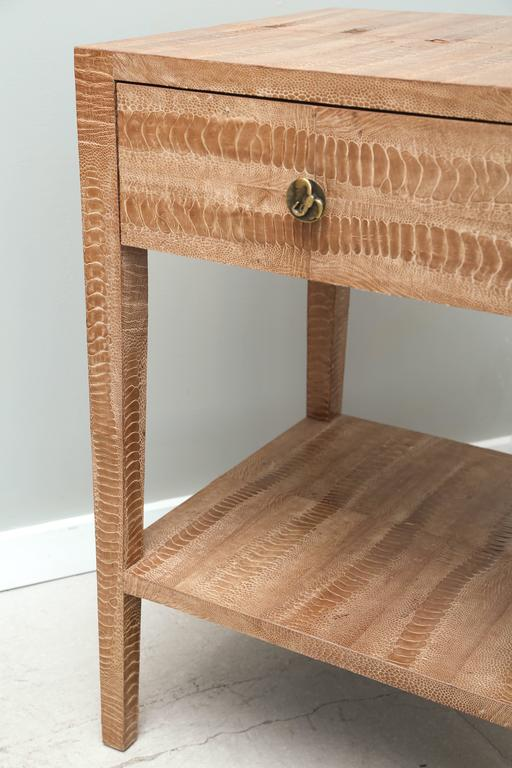 Pair of Vintage Snakeskin Side Tables In Good Condition For Sale In West Palm Beach, FL