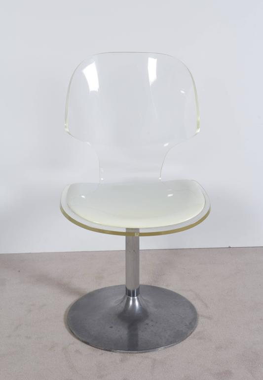Chrome Hill Manufacturing Lucite Chair on Aluminium Tulip Base For Sale