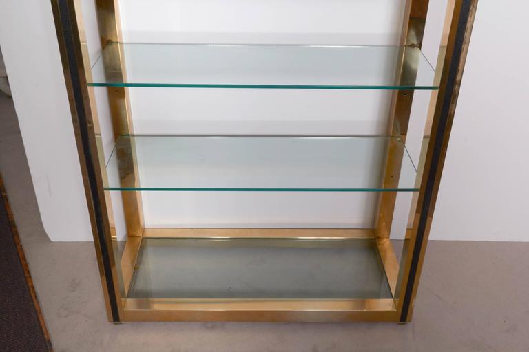 Mid-Century Modern Milo Baughman Style 1970s Brass Etagere with Faux Leather Accent For Sale