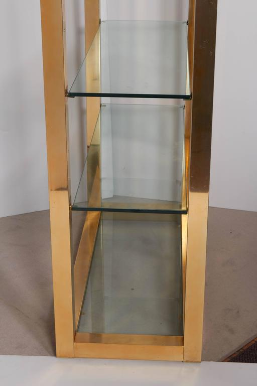 Late 20th Century Milo Baughman Style 1970s Brass Etagere with Faux Leather Accent For Sale