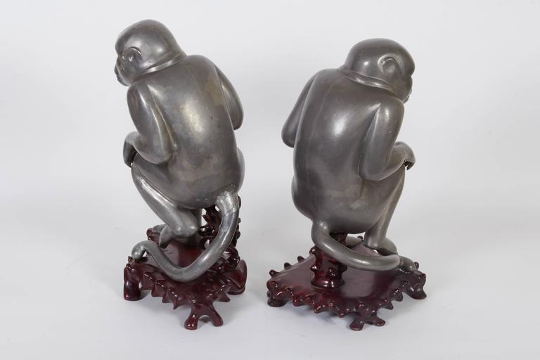 Pair of Chinese Export Pewter Monkey Sculptures on Bases In Good Condition For Sale In New York, NY