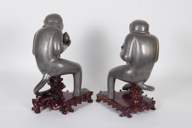19th Century Pair of Chinese Export Pewter Monkey Sculptures on Bases For Sale