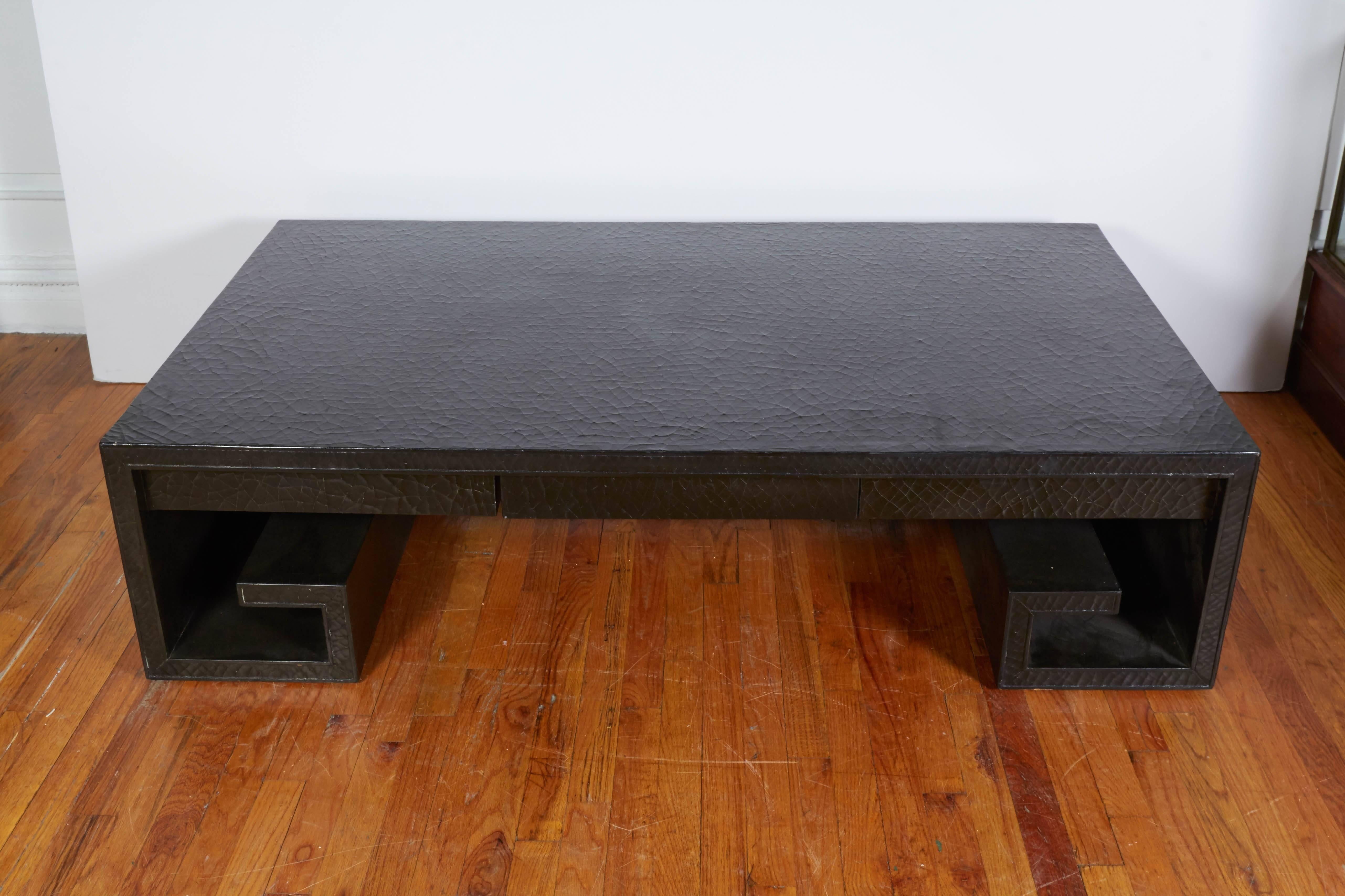 Thomas Pheasant Black Le Lacquer Scroll Coffee Table For Baker At 1stdibs