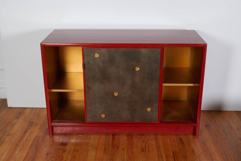 Pair Of Tommi Parzinger Style Red Lacquer Asian Cabinets In Excellent  Condition For Sale In New