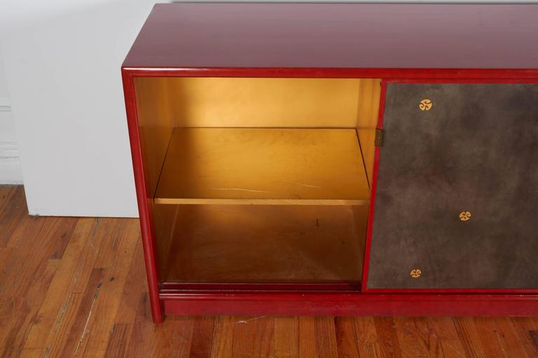 20th Century Pair of Tommi Parzinger Style Red Lacquer Asian Cabinets For Sale