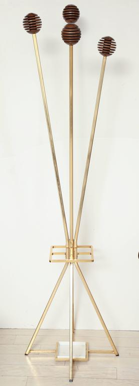 Unusual Brass and Wood Coat Rack/Umbrella Stand, France, circa 1970 9